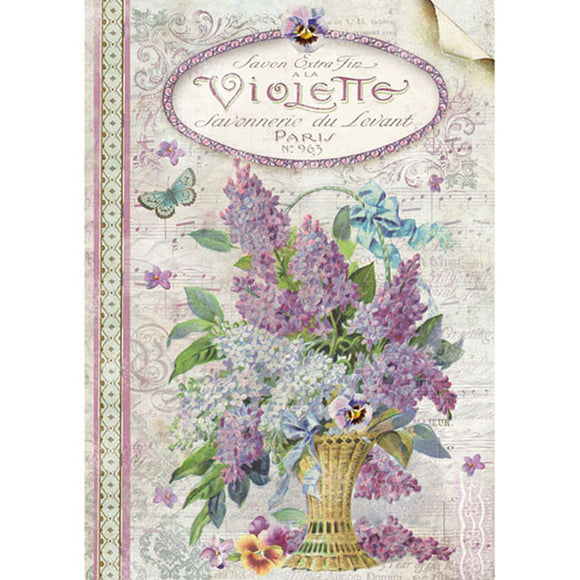 Stamperia A4 Decoupage Rice Paper - Violets- DFSA4101