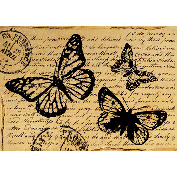 Stamperia A4 Decoupage Rice Paper - Script Butterfly