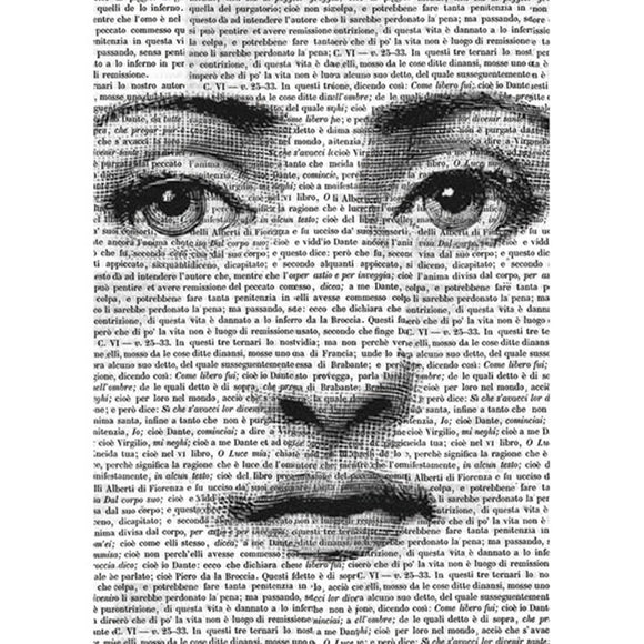 Stamperia A4 Decoupage Rice Paper - Face on Words DFSA4126
