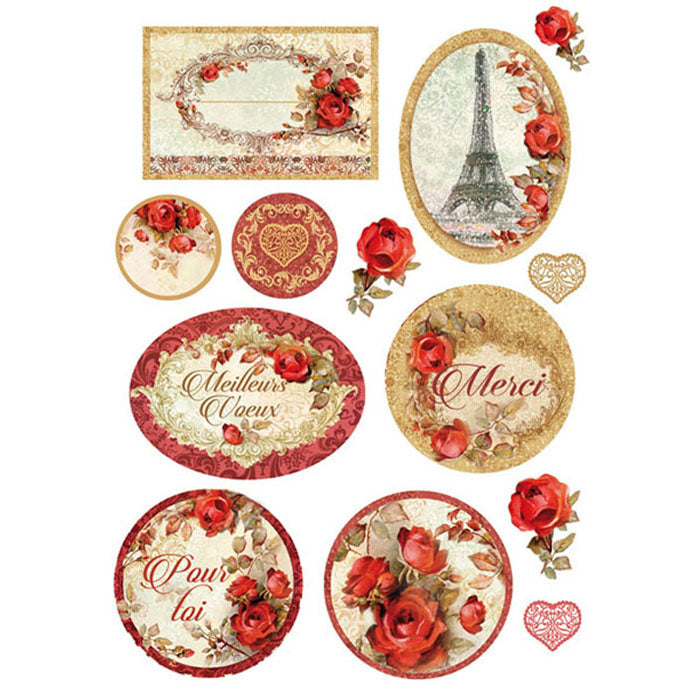 Stamperia A4 Decoupage Rice Paper - Paris Roses, Art & Craft Paper by The Craft House