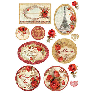 Stamperia A4 Decoupage Rice Paper - Paris Roses