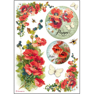 Stamperia A4 Decoupage Rice Paper - Poppies