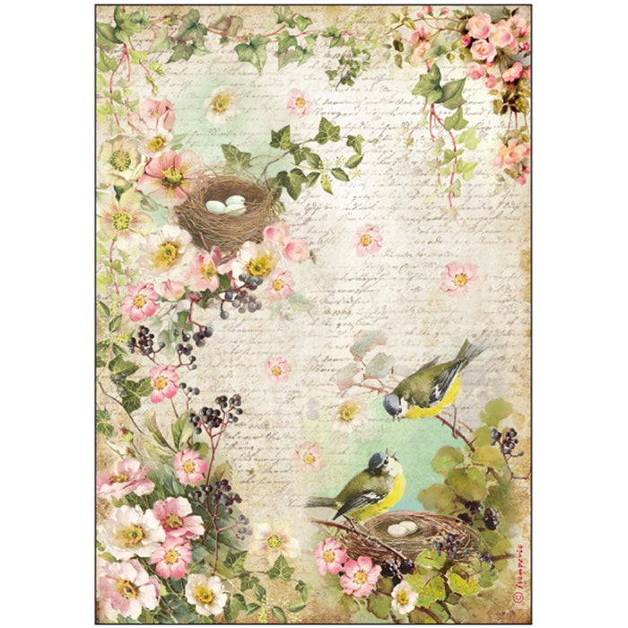 Stamperia A4 Decoupage Rice Paper - Birds Nest