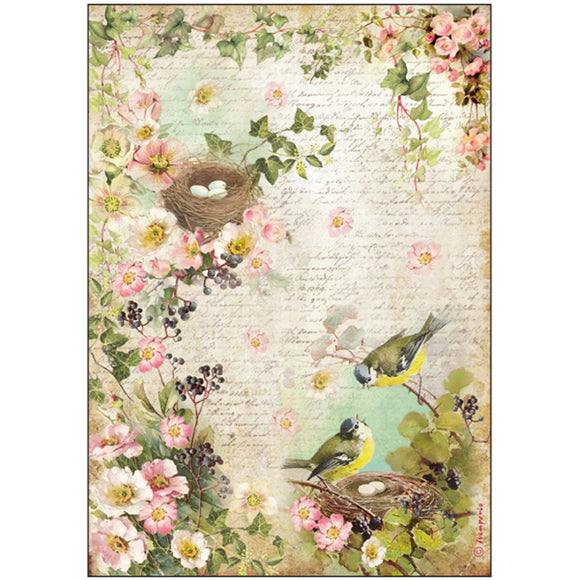 NEW Stamperia A4 Decoupage Rice Paper - Birds Nest