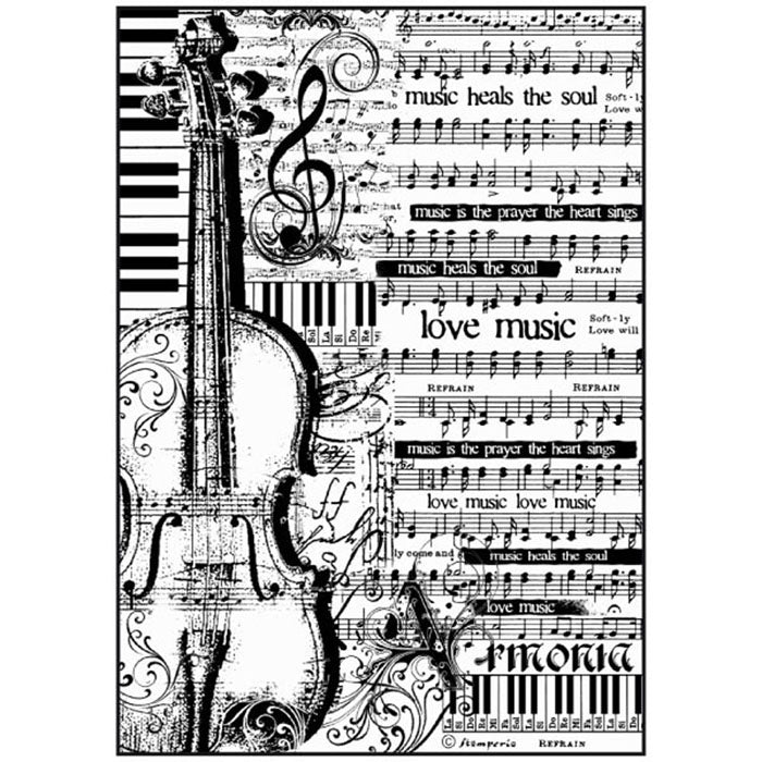 Stamperia A4 Decoupage Rice Paper - Sheet Music & Violin