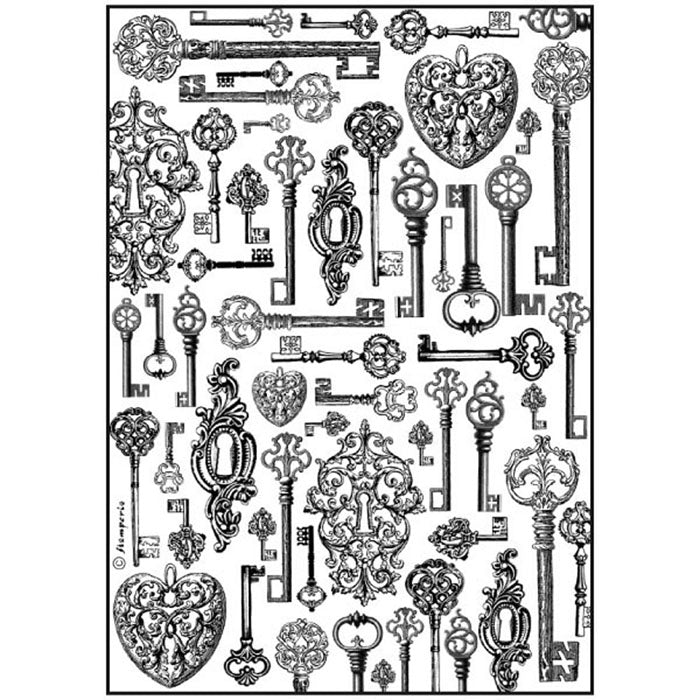 Stamperia A4 Decoupage Rice Paper - Keys DFSA4191, Hobbies & Creative Arts by The Craft House