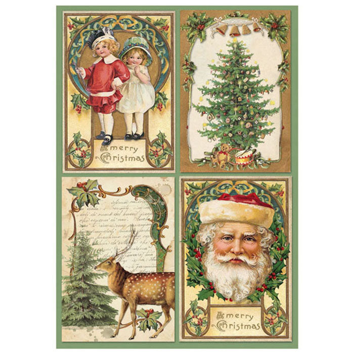 NEW Stamperia A4 Decoupage Rice Paper -  Christmas Santa Postcards - DaliART