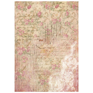 NEW Stamperia A4 Decoupage Rice Paper - Flower Wall - DaliART