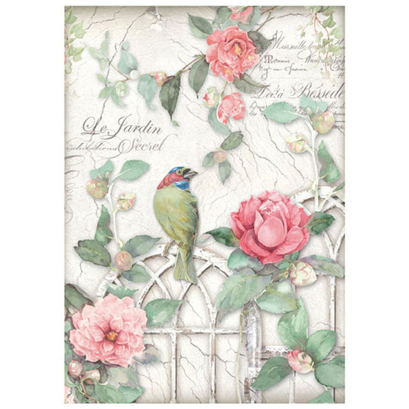 NEW Stamperia A4 Decoupage Rice Paper - Garden Bird Rose - DaliART
