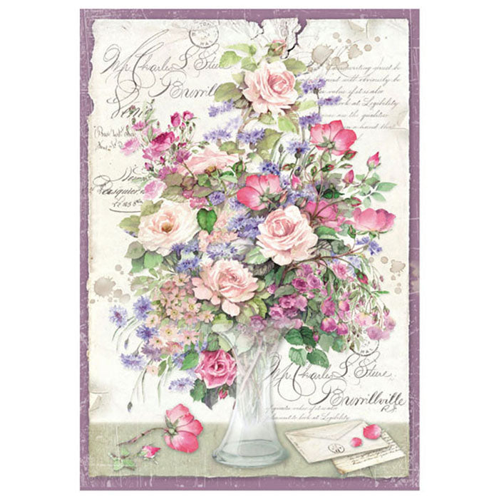Stamperia A4 Decoupage Rice Paper - Flowers in a vase, Art & Craft Paper by The Craft House