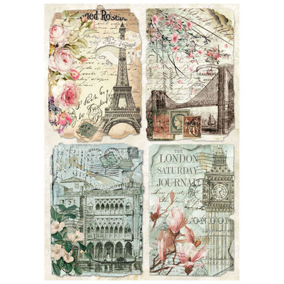 Stamperia A4 Decoupage Rice Paper - Paris Postcards