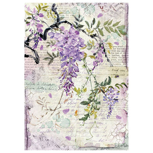 NEW Stamperia A4 Decoupage Rice Paper - Vine flowers