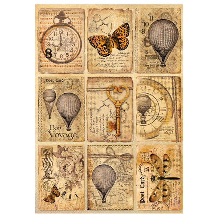 NEW Stamperia A4 Decoupage Rice Paper - Mixed Media Postcards- DFSA4240 - DaliART