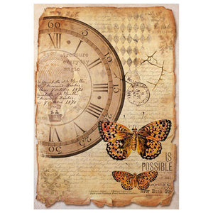 Stamperia A4 Decoupage Rice Paper - Clock and butterfly