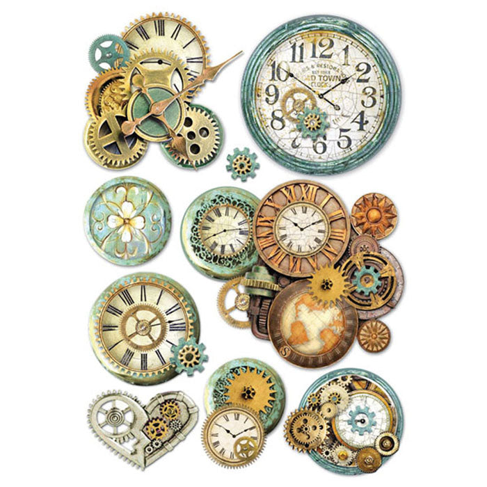 Stamperia A4 Decoupage Rice Paper - Patina Clock Faces DFSA4242