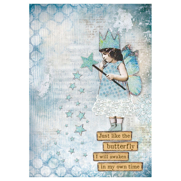 NEW Stamperia A4 Decoupage Rice Paper - Blue Stars Magic Wand - DaliART