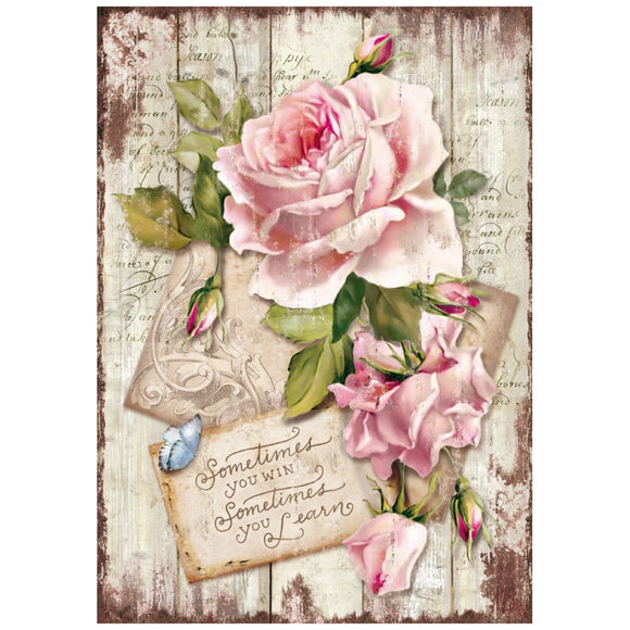 NEW Stamperia A4 Decoupage Rice Paper - Sweet Time Rose