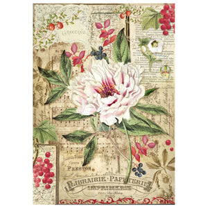 NEW Stamperia A4 Decoupage Rice Paper - Peony with Red Berries