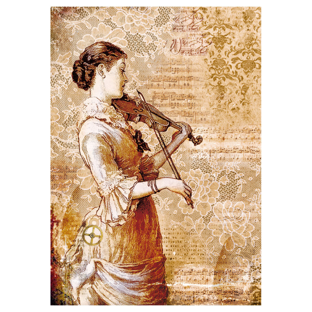 NEW Stamperia A4 Decoupage Rice Paper -  Steampunk Women with a Violin - DaliART