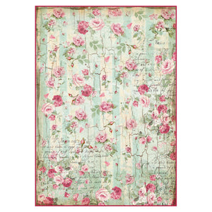NEW Stamperia A4 Decoupage Rice Paper - Distressed Wood Roses - DFSA4275 - DaliART