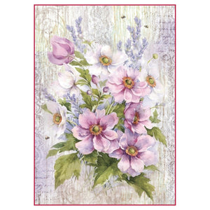 NEW Stamperia A4 Decoupage Rice Paper - Flower Bouquet Violet - DaliART
