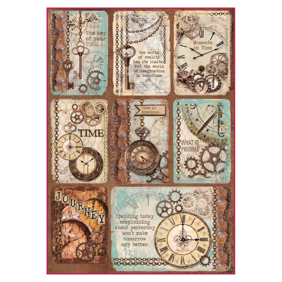 NEW Stamperia A4 Decoupage Rice Paper -  Clockwise Postcards - DFSA4287