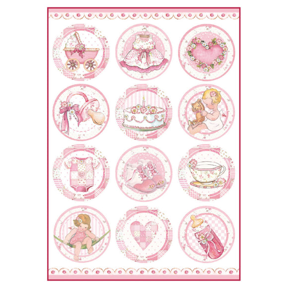 NEW Stamperia A4 Decoupage Rice Paper - Baby Girl Motifs - DFSA4289 - DaliART