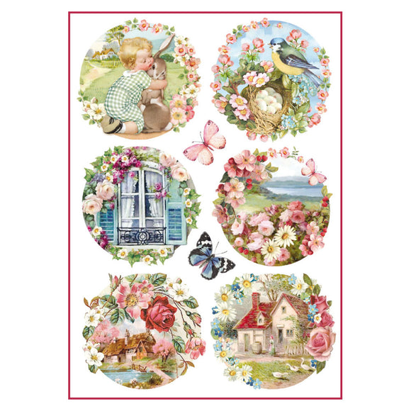 NEW Stamperia A4 Decoupage Rice Paper - Postcard Garden - DFSA4293 - DaliART