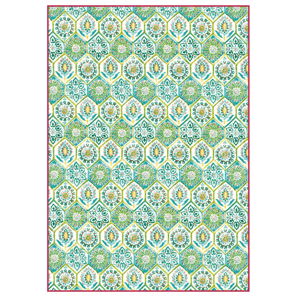 Stamperia A4 Decoupage Rice Paper - Green Mosaic Tile - DFSA4299, Art & Craft Paper by The Craft House