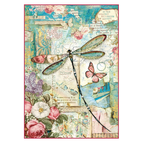 NEW Stamperia A4 Decoupage Rice Paper -  Wonderland Dragonfly -DFSA4309