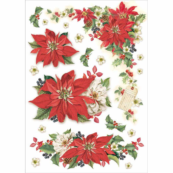 NEW Stamperia A4 Decoupage Rice Paper - Christmas Poinsettia - DaliART