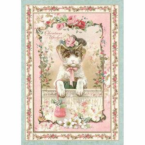 NEW Stamperia A4 Decoupage Rice Paper - Christmas Kitten - DaliART