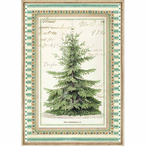 NEW Stamperia A4 Decoupage Rice Paper - Winter Botanic Christmas Tree - DaliART