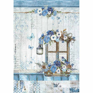NEW Stamperia A4 Decoupage Rice Paper - Blue Land Window - DaliART