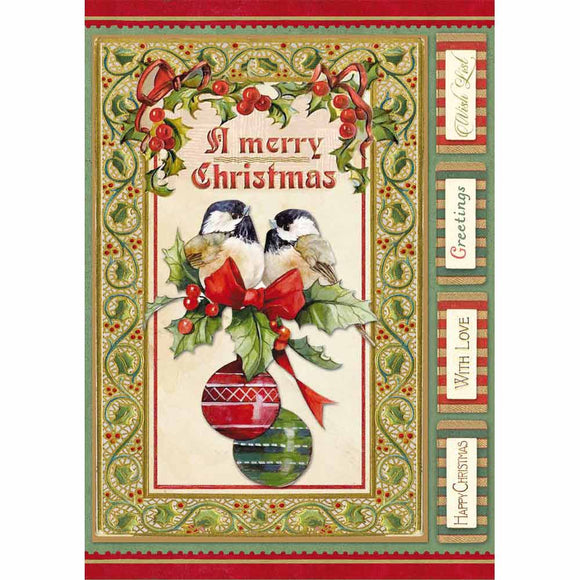 NEW Stamperia A4 Decoupage Rice Paper -Christmas Vintage Birds