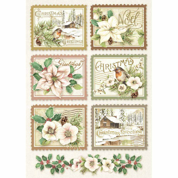 NEW Stamperia A4 Decoupage Rice Paper - Winter Botanic Stamps DFSA4342 - DaliART