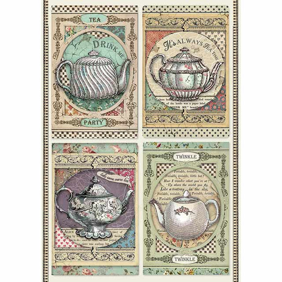 NEW Stamperia A4 Decoupage Rice Paper - Tea Time DFSA4350