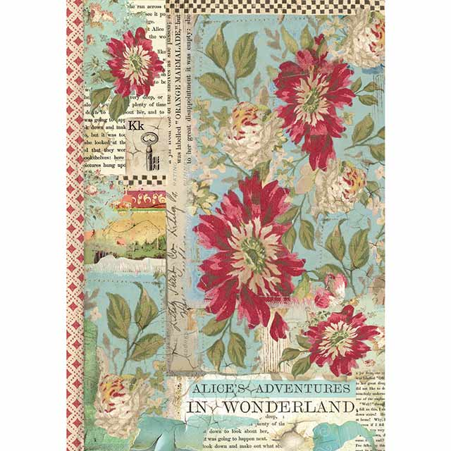 Stamperia A4 Decoupage Rice Paper - Alice Red Flower DFSA4351, Art & Craft Paper by The Craft House