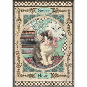 NEW Stamperia A4 Decoupage Rice Paper - Sweet Home Cat DFSA4353 - DaliART