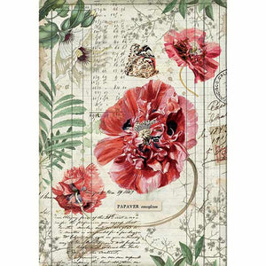 NEW Stamperia A4 Decoupage Rice Paper - Poppies DFSA4357 - DaliART