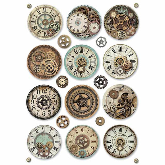 NEW Stamperia A4 Decoupage Rice Paper - Voyages Gears DFSA4369