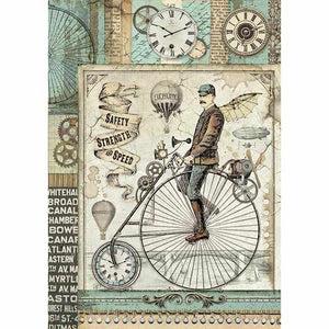NEW Stamperia A4 Decoupage Rice Paper - Retro Bicycle DFSA4371 - DaliART
