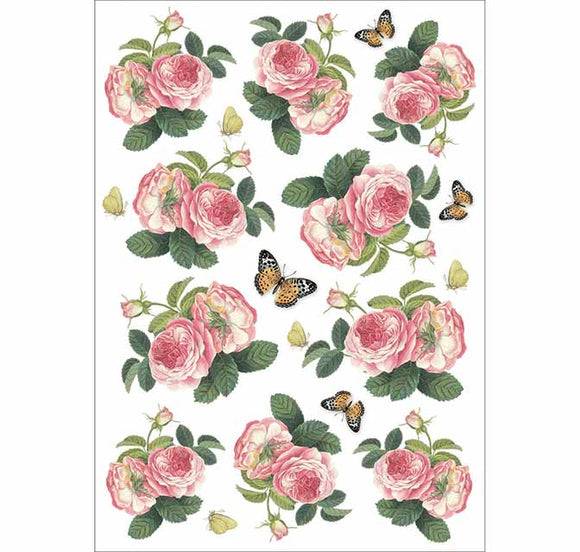NEW Stamperia A4 Decoupage Rice Paper - Roses and Butterfly DFSA4378 - DaliART