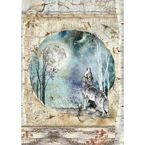 NEW Stamperia A4 Rice Paper - Cosmos Wolf - DFSA4388