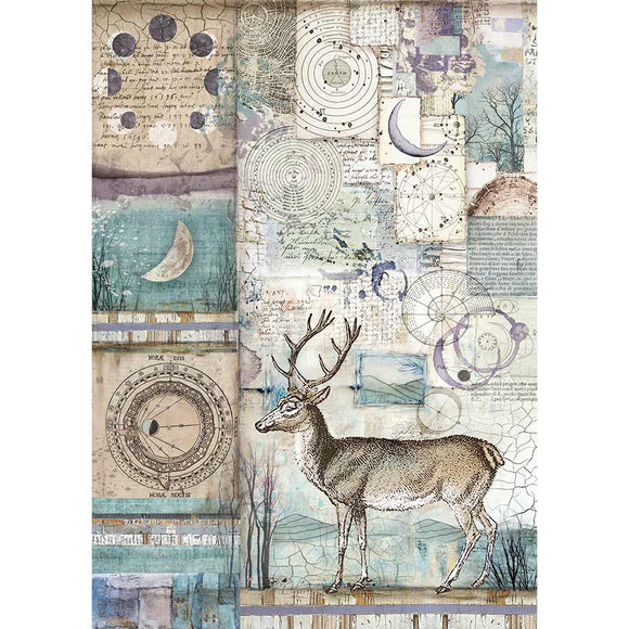 NEW Stamperia A4 Rice Paper - Cosmos Deer - DFSA4390