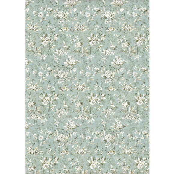 NEW Stamperia A4 Rice Paper - Jasmine Light Blue - DFSA4403