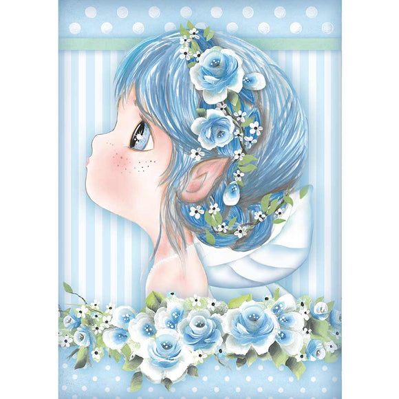 Stamperia A4 Rice Paper - Light Blue Fairy - DFSA4409