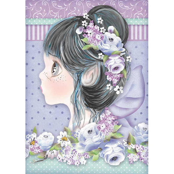 NEW Stamperia A4 Rice Paper - Lilac Fairy - DFSA4411