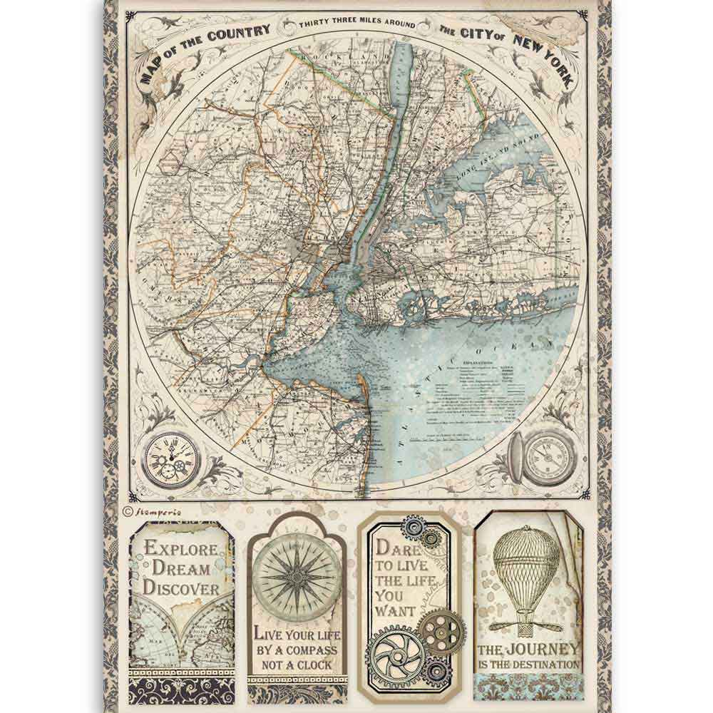 NEW Stamperia A4 Decoupage Sir Vagabond Map of New York DFSA4515- Pre- Order