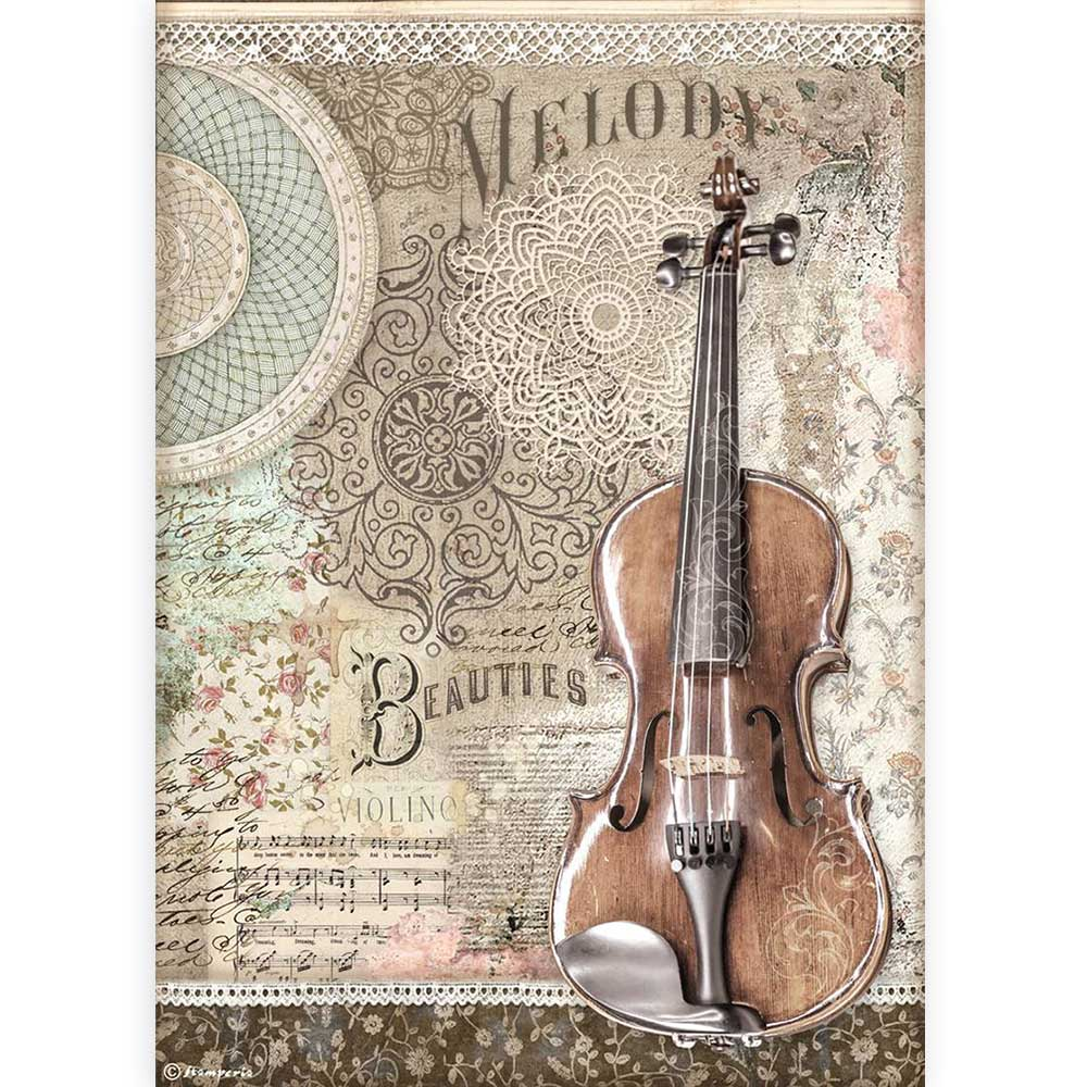 New Stamperia A4 Decoupage Passion Violin DFSA4538, Art & Craft Paper by The Craft House